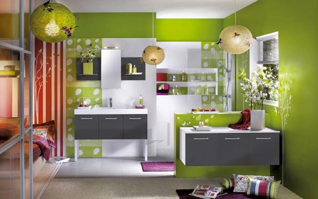Peinture carrelage vert olive