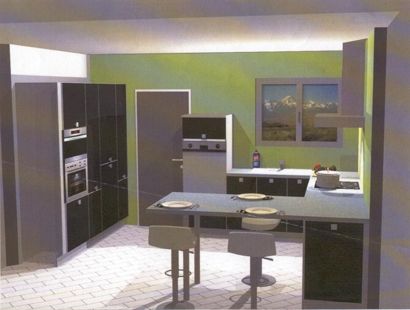 Peinture grise cuisine ouverte