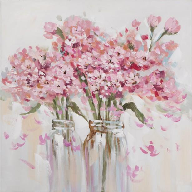 Peinture acrylique fleurs en vase
